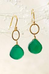 Stella & Dot Perfect Faceted Earrings in Green Onyx
